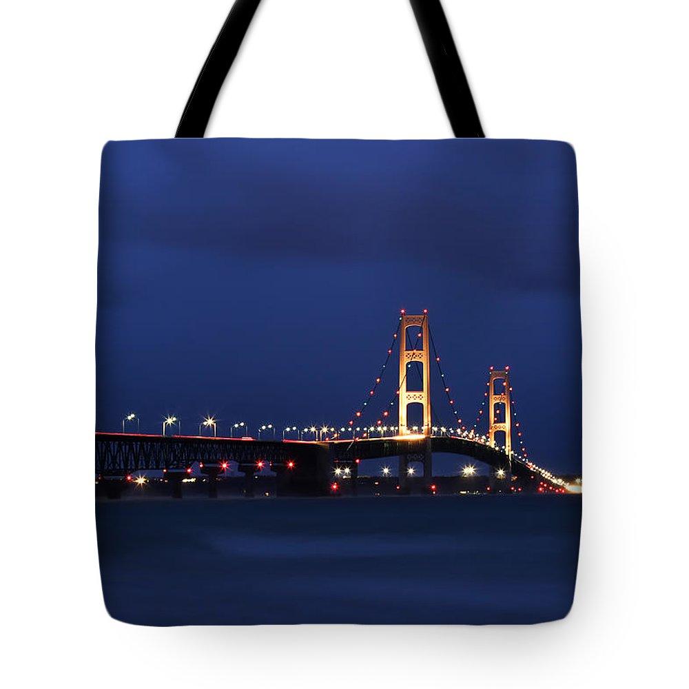 Big Tote Bag featuring the photograph Big Mackinac Bridge 9 by John Brueske