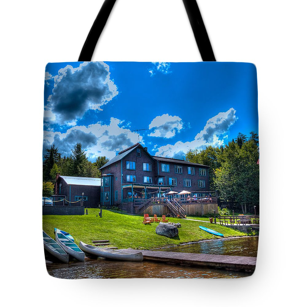 Big Moose Lake Tote Bag featuring the photograph Big Moose Inn - Eagle Bay New York by David Patterson