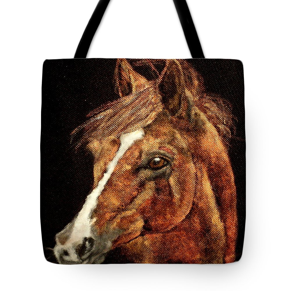 Red Thoroughbred Close Up Tote Bag featuring the painting Big Red by Carol Russell