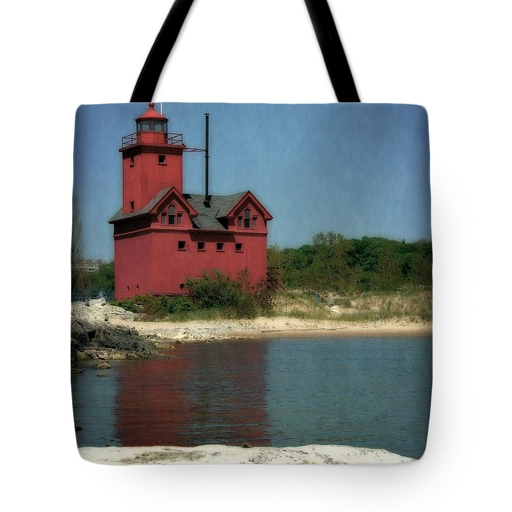 Michigan Tote Bag featuring the photograph Big Red Holland Michigan Lighthouse by Michelle Calkins