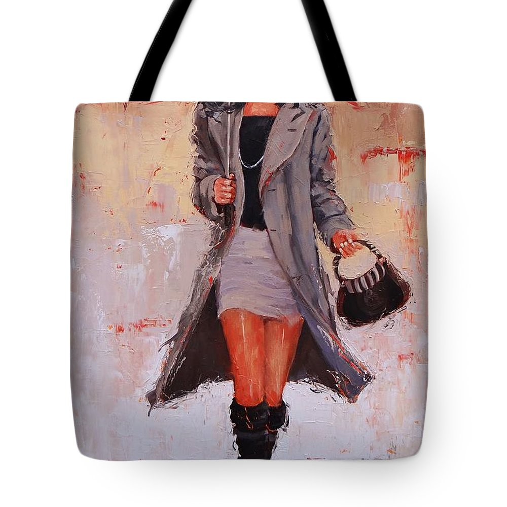 Laura Zanghetti Tote Bag featuring the painting Big Red by Laura Lee Zanghetti