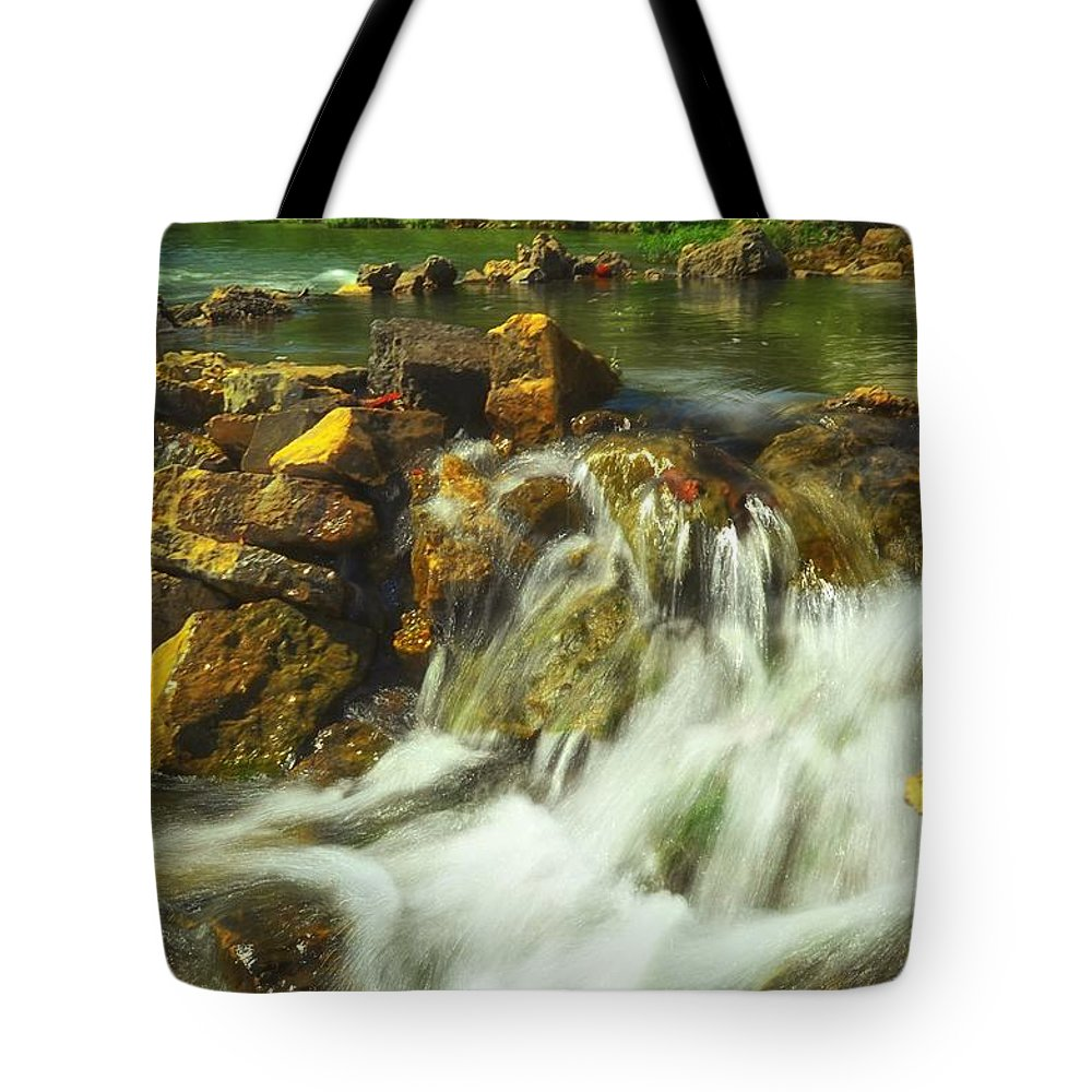 Beautiful Waterfall Tote Bag featuring the photograph Big River Waterfall And Dam by Peggy Franz