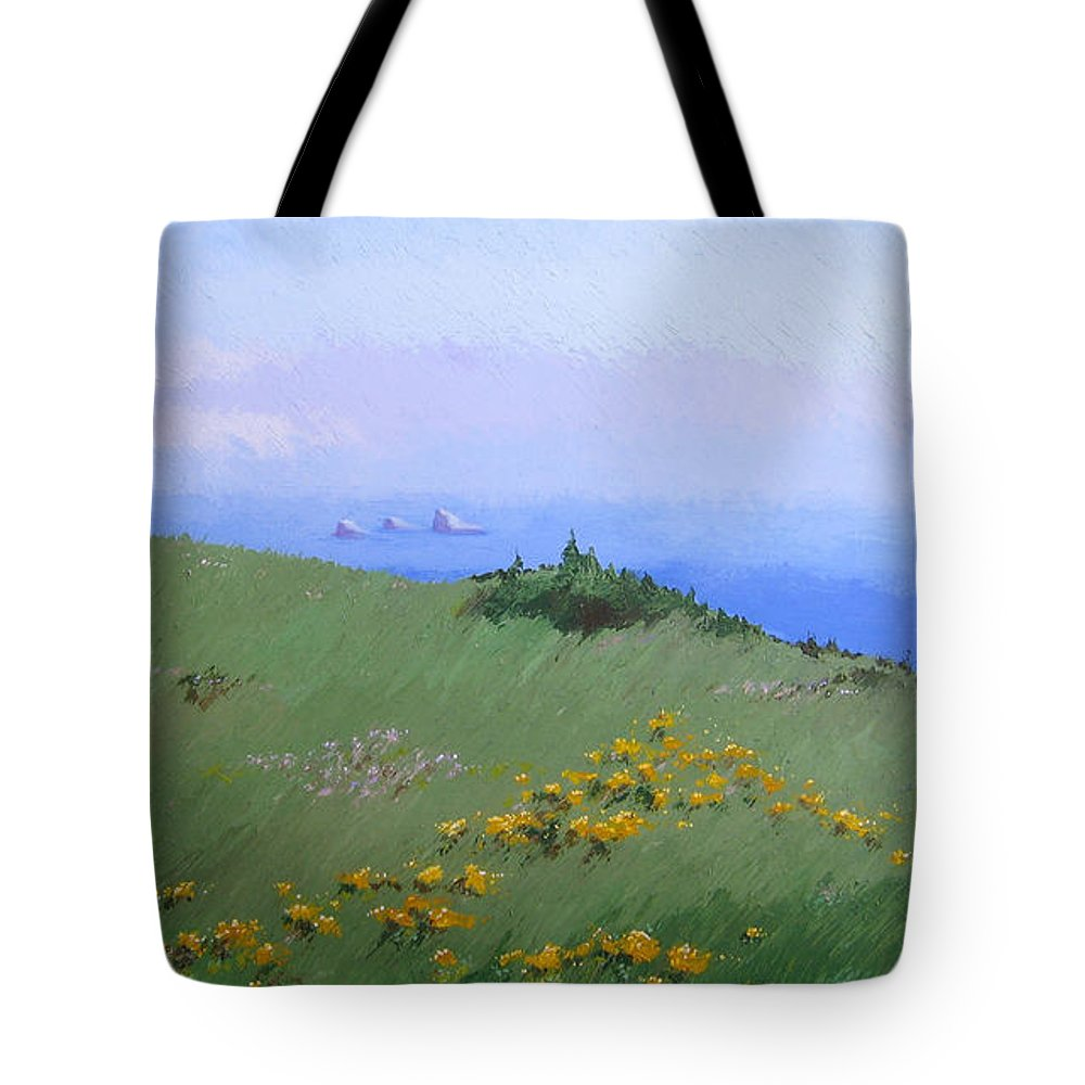 Landscape Tote Bag featuring the painting Big Sur by Hunter Jay