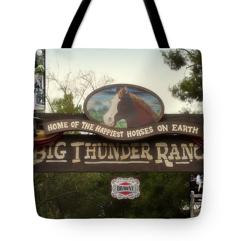 Disney Tote Bag featuring the photograph Big Thunder Ranch Signage Frontierland Disneyland by Thomas Woolworth