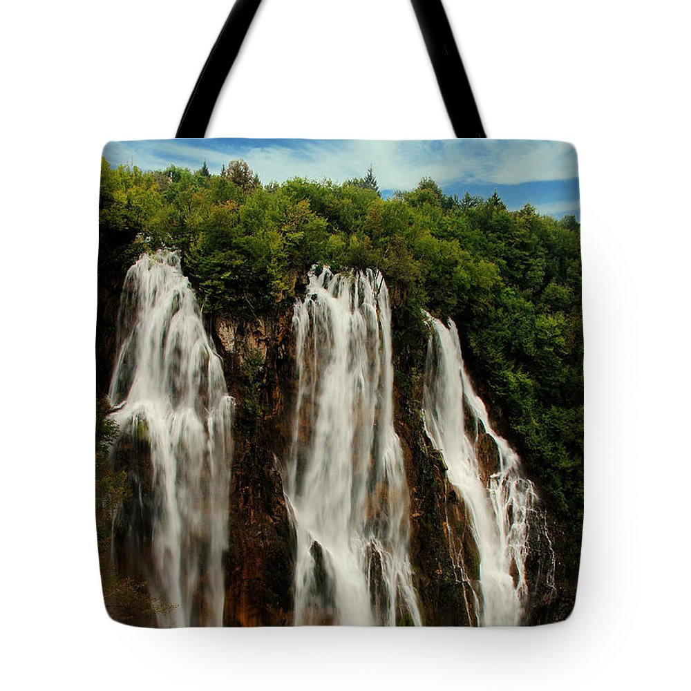 Mountain Tote Bag featuring the photograph Big Water Fall Croatia by Humphrey Janga