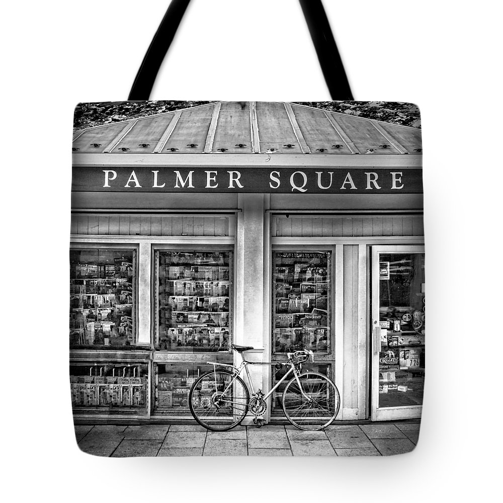 Bicycle Tote Bag featuring the photograph Bike At Palmer Square Book Store In Princeton by Ben and Raisa Gertsberg