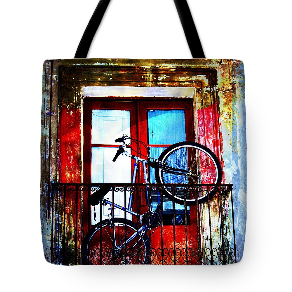 Abstract Tote Bag featuring the photograph Bike In The Balcony by Hal Halli