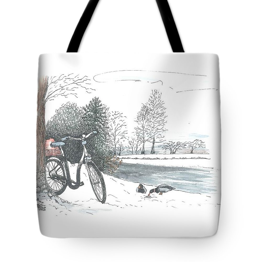 Bike Tote Bag featuring the painting Bike In The Snow by Petra Stephens