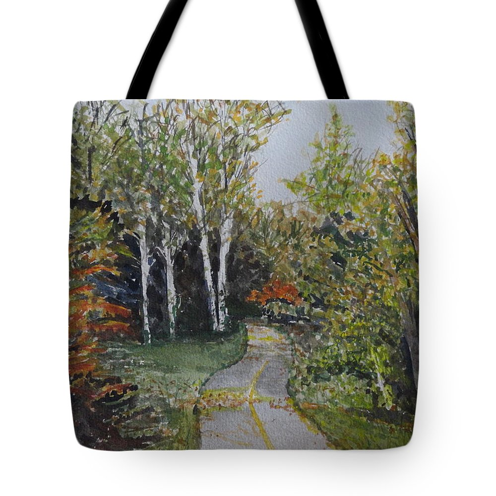 Path Tote Bag featuring the painting Bike Path by Betty-Anne McDonald