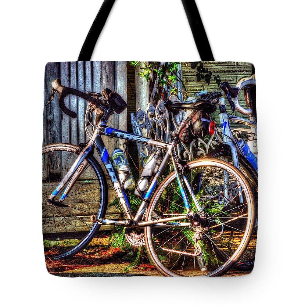 Mobile Tote Bag featuring the digital art Bike Trek by Michael Thomas
