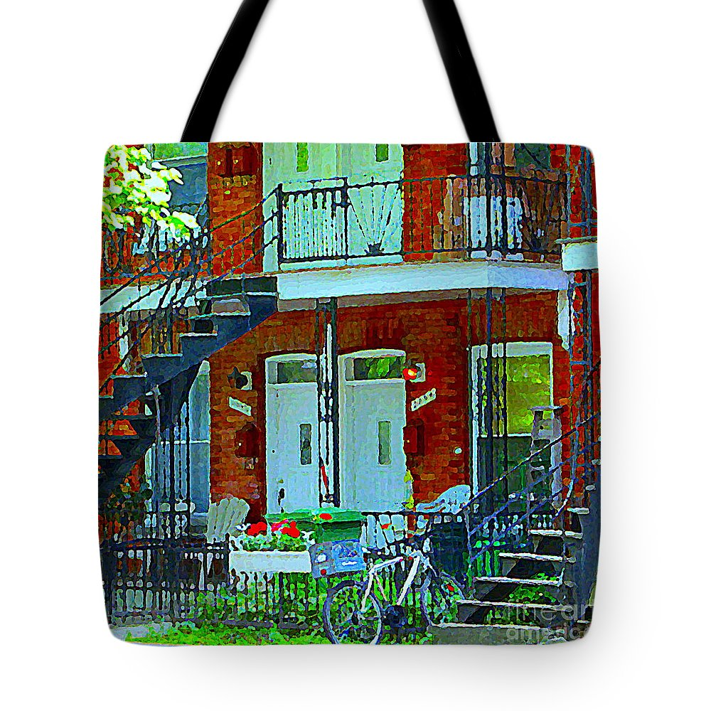 Montreal Tote Bag featuring the painting Bikes Balconies Brick Houses Flower Boxes Verdun Duplex Stairs Summer Scenes Carole Spandau by Carole Spandau