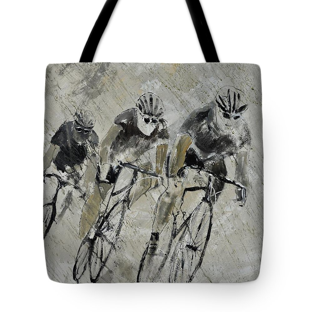 Sports Tote Bag featuring the painting Bikes In The Rain by Pol Ledent