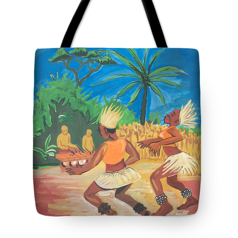 Barry Art Tote Bag featuring the painting Bikutsi Dance 2 From Cameroon by Emmanuel Baliyanga