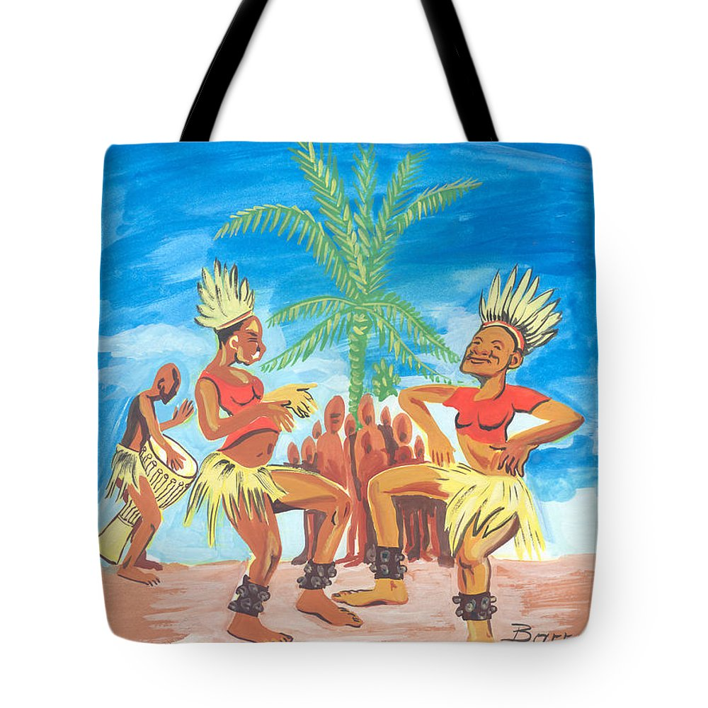 African Art Tote Bag featuring the painting Bikutsi Dance 3 From Cameroon by Emmanuel Baliyanga