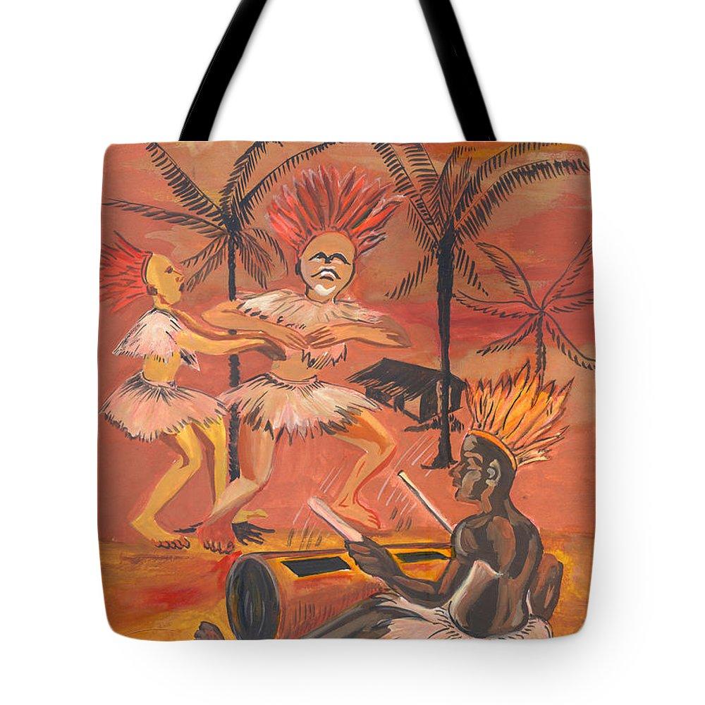 Barry Art Tote Bag featuring the painting Bikutsi Dance From Cameroon by Emmanuel Baliyanga
