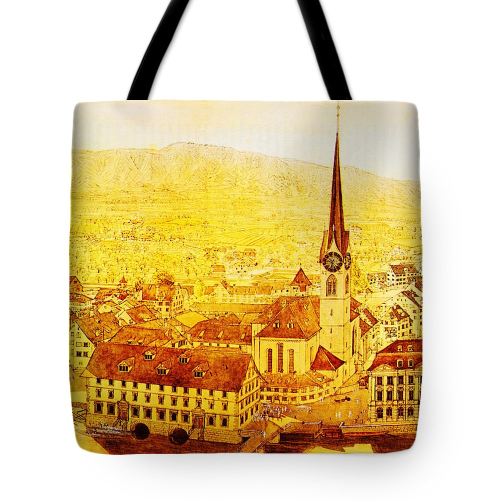 Bild Fraumuenster Tote Bag featuring the painting Bild Fraumuenster by MotionAge Designs
