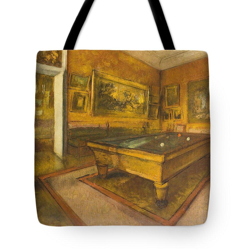 Billiard Room At Menil-hubert Tote Bag featuring the painting Billiard Room At Menil-hubert by Edgar Degas