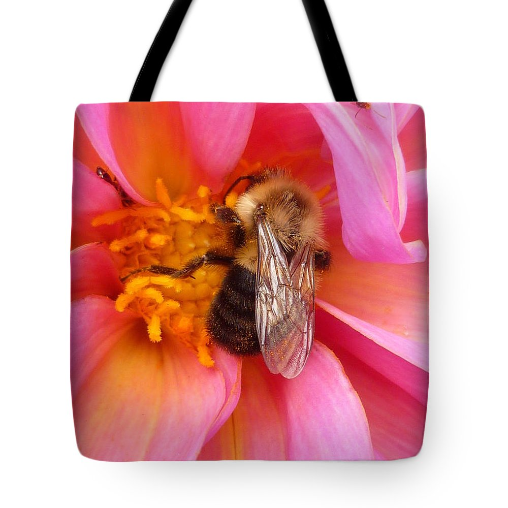 Flower Tote Bag featuring the photograph Billy B Dahlia and company by Lingfai Leung