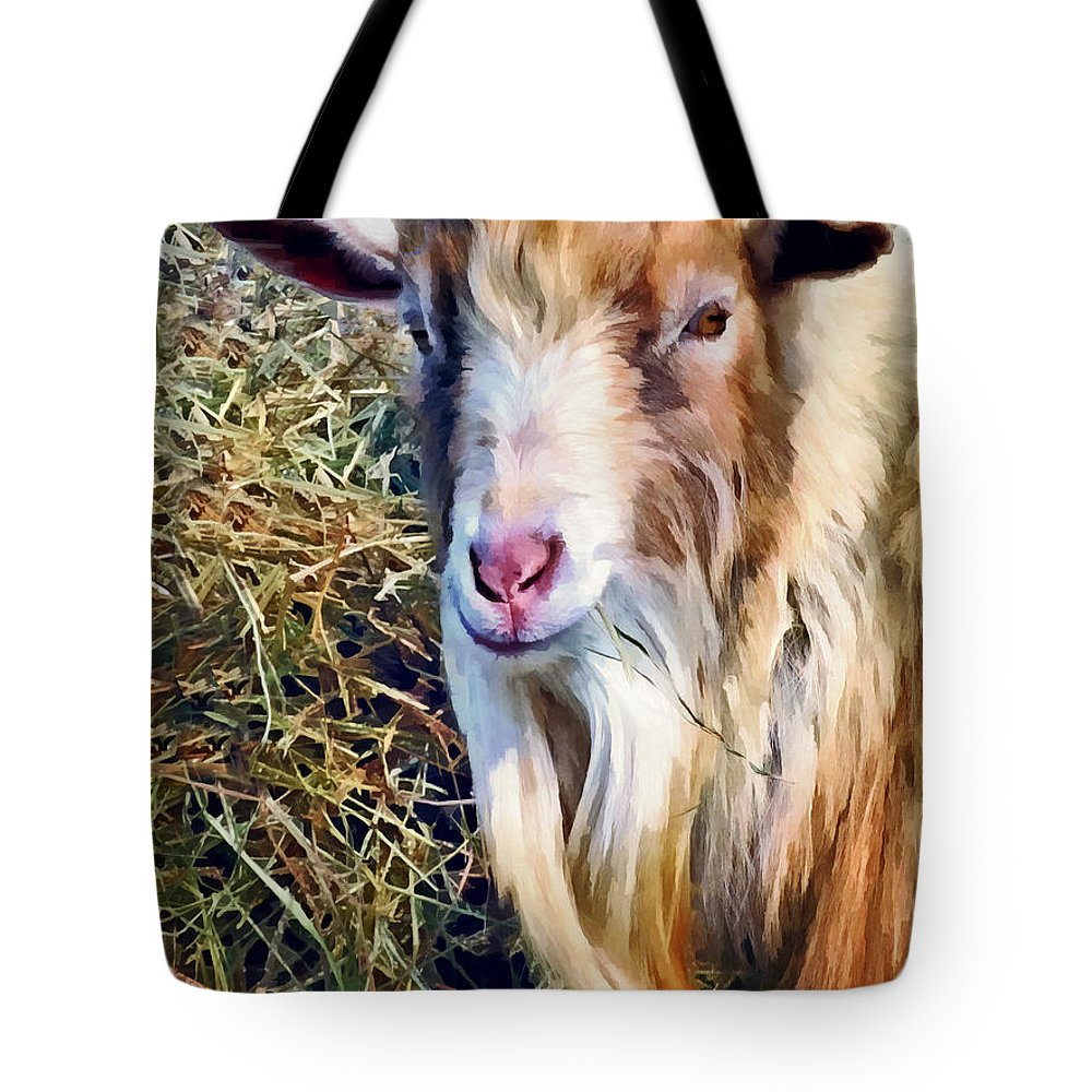 Goat Tote Bag featuring the photograph Billy Goat Closeup by Susan Savad