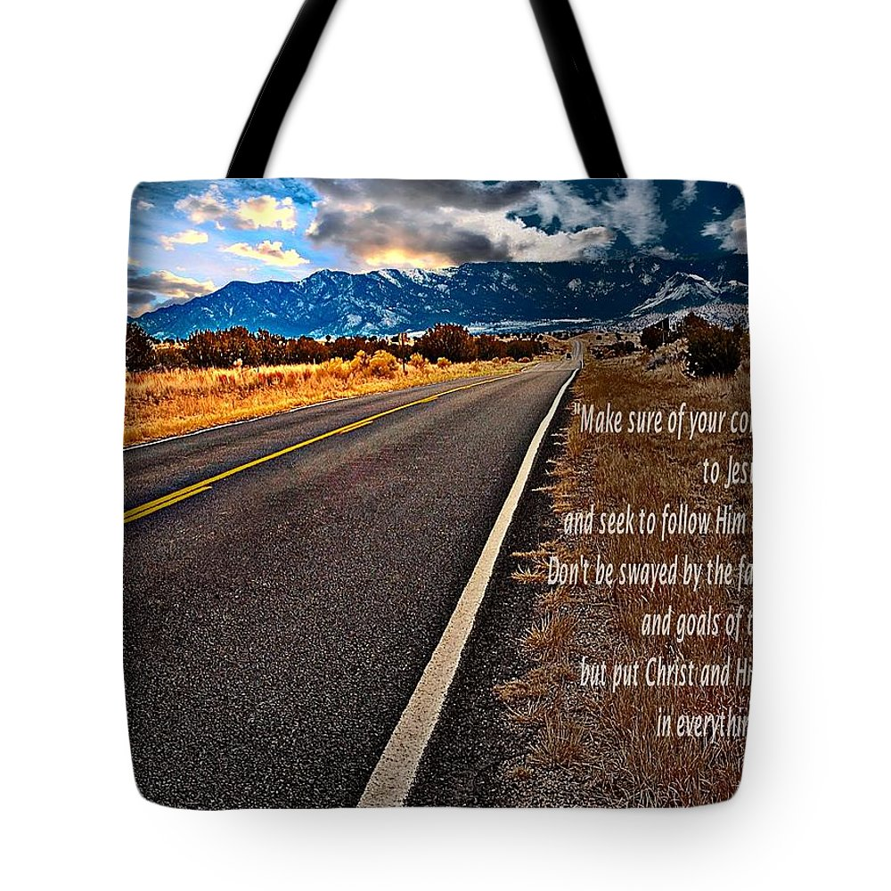 Highway Tote Bag featuring the photograph Billy Graham Quote Guidance by Bob Pardue