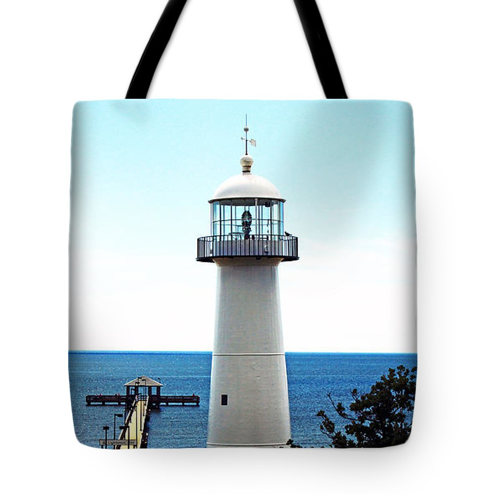 Seascape Tote Bag featuring the photograph Biloxi Lighthouse 4 by Earl Johnson