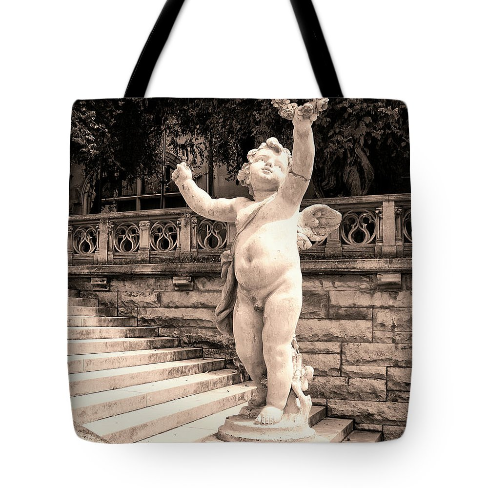 Asheville Tote Bag featuring the photograph Biltmore Cherub Asheville Nc by William Dey