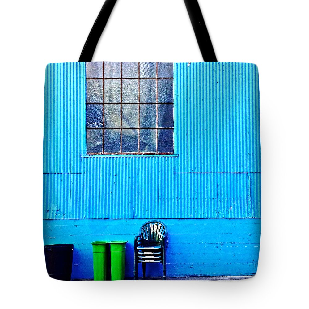 Window Tote Bag featuring the photograph Bins And Chairs by Julie Gebhardt
