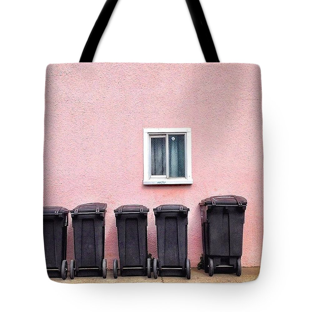 Windowshotwednesday Tote Bag featuring the photograph Garbage Bin Family by Julie Gebhardt