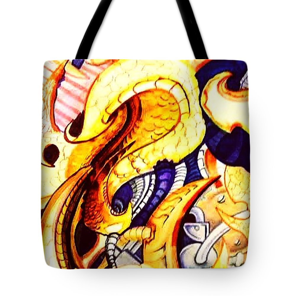 Abstract Tote Bag featuring the drawing Bioorganic 1 by Chris Gill