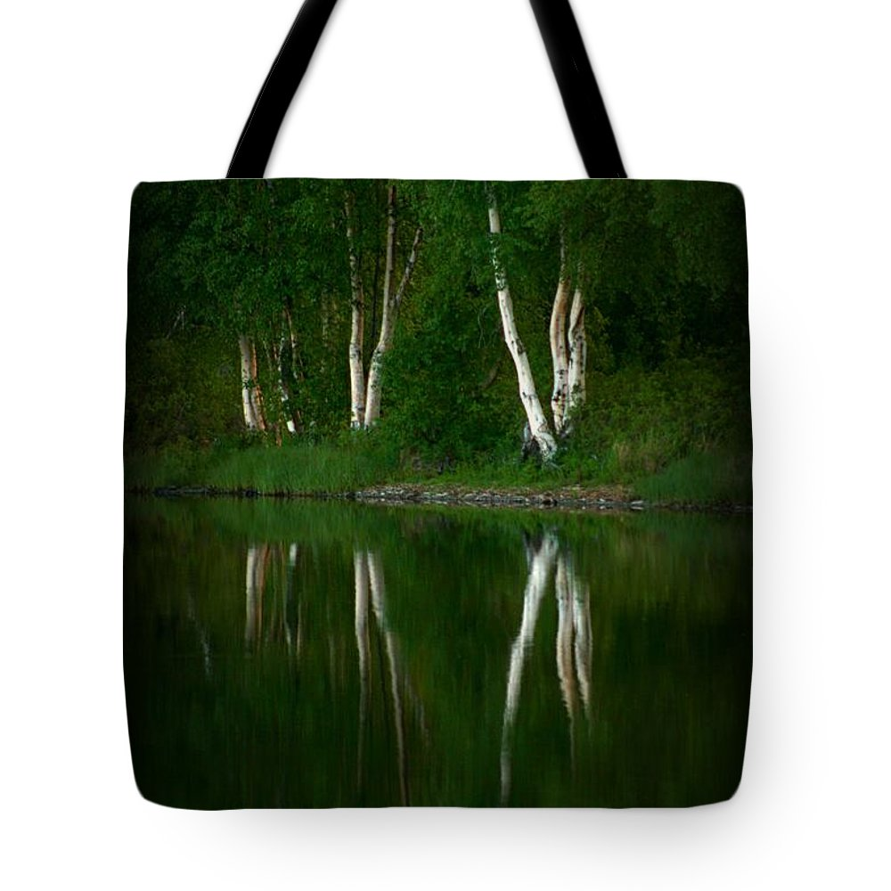 Birch Tote Bag featuring the photograph Birch Reflection by Rick Monyahan