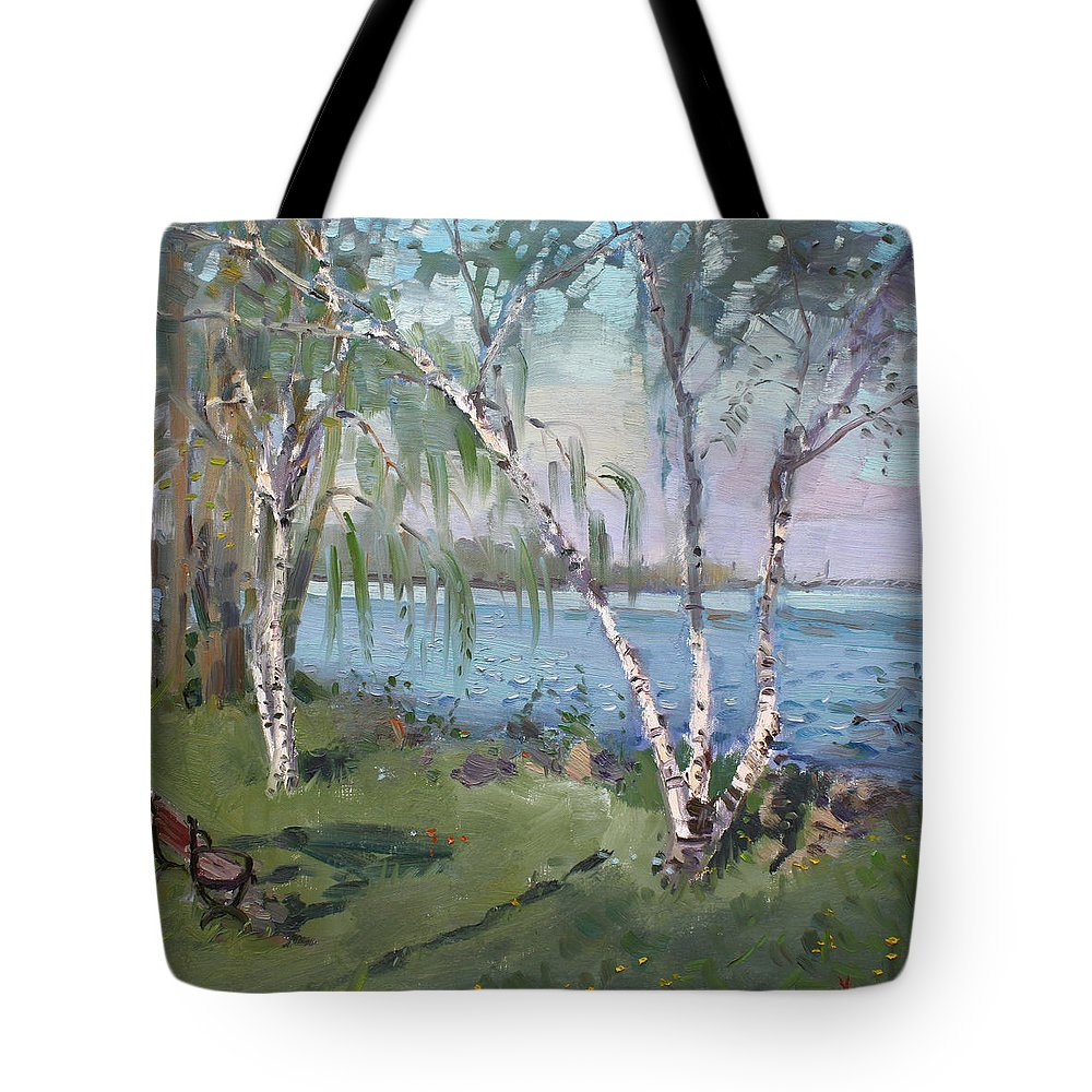 Birch Trees Tote Bag featuring the painting Birch Trees By The River by Ylli Haruni
