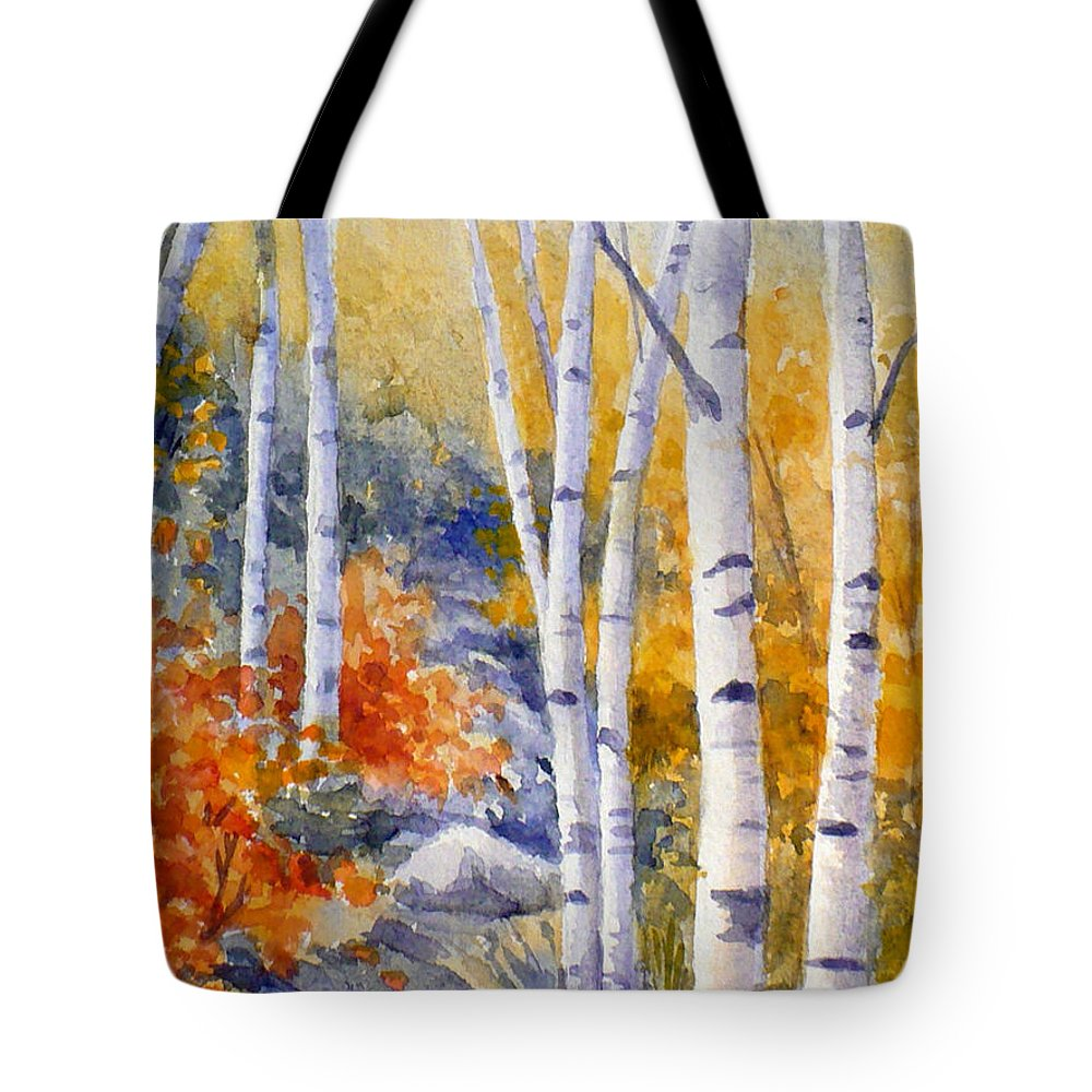 Birch Tote Bag featuring the painting Birches Along The Trail by Janet Zeh
