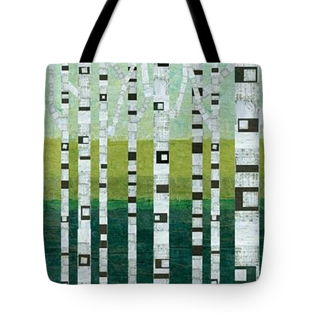 Birch Tree Tote Bag featuring the painting Birches At The Beach by Michelle Calkins