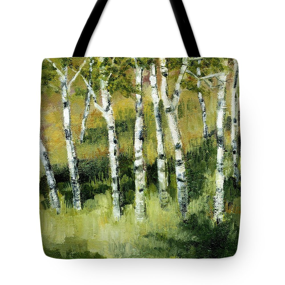 Trees Tote Bag featuring the painting Birches On A Hill by Michelle Calkins