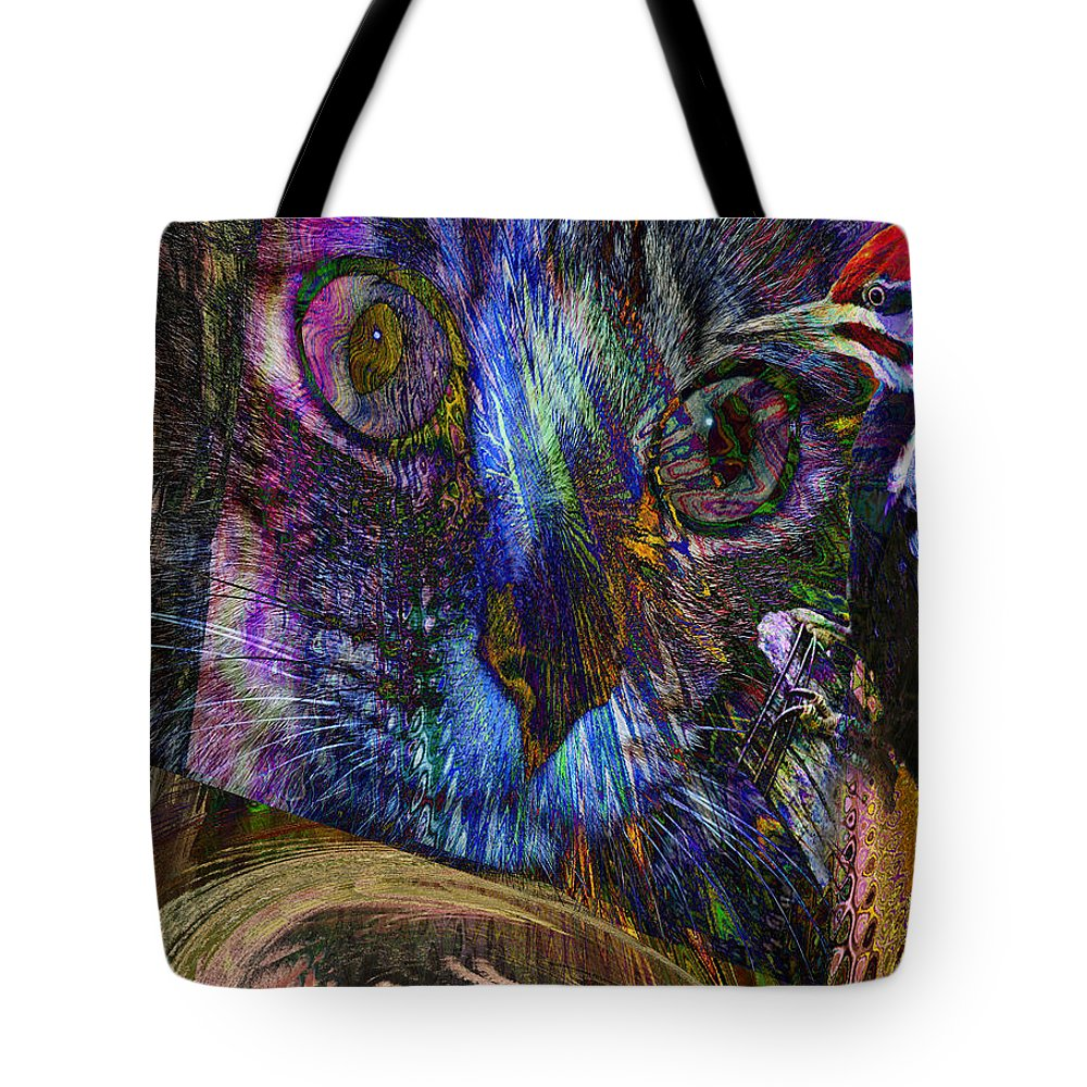 Bird Tote Bag featuring the digital art Bird Cage by Joseph Mosley