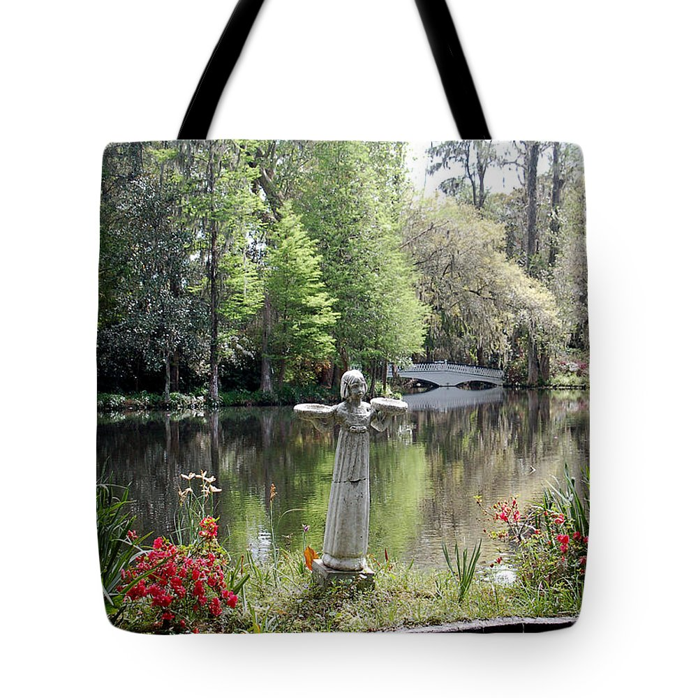 Bird Girl Tote Bag featuring the photograph Bird Girl Of Magnolia Plantation Gardens by Suzanne Gaff