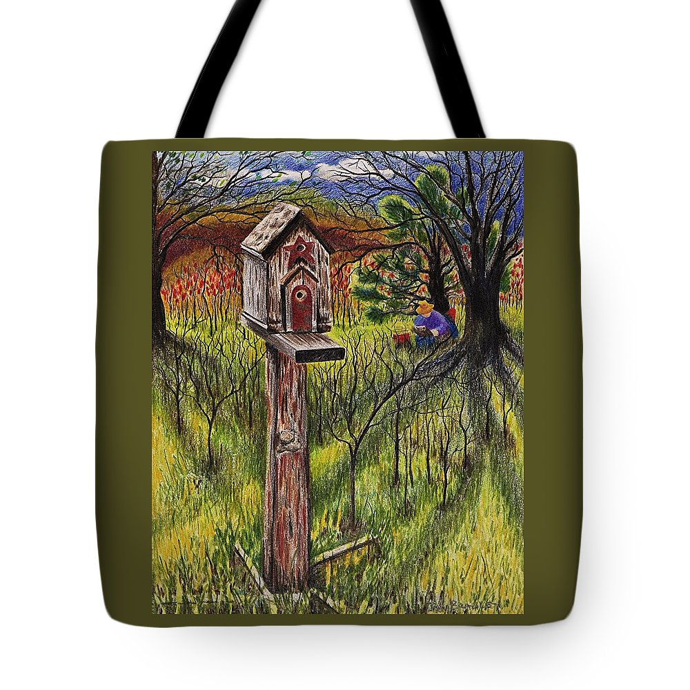 Bird House Tote Bag featuring the drawing Bird House by Joy Bradley