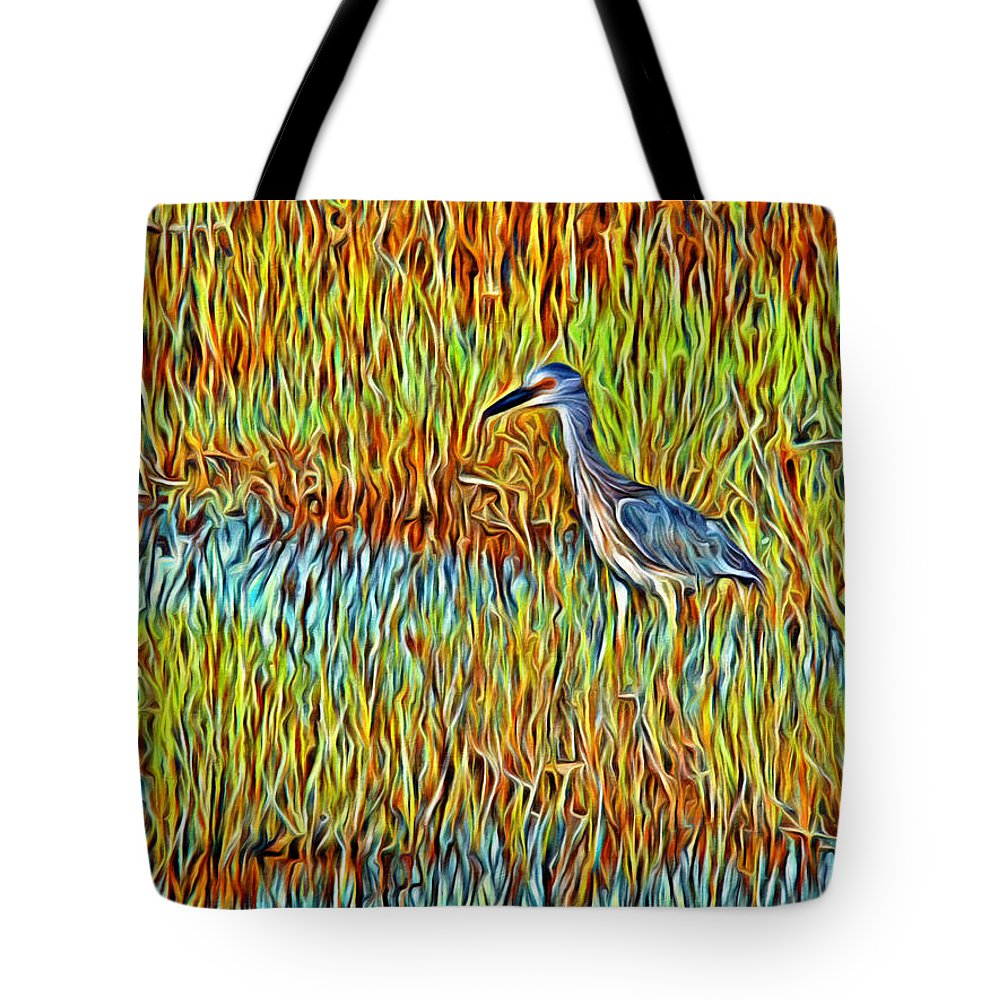 Bird Reeds Water Florida Tote Bag featuring the photograph Bird In The Reeds by Alice Gipson