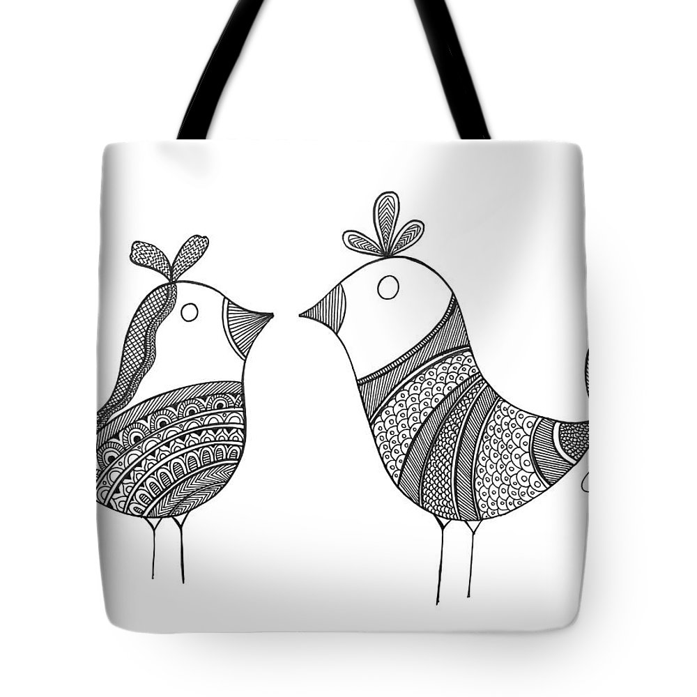 Neeti Goswami Tote Bag featuring the drawing Bird Love Birds by MGL Meiklejohn Graphics Licensing