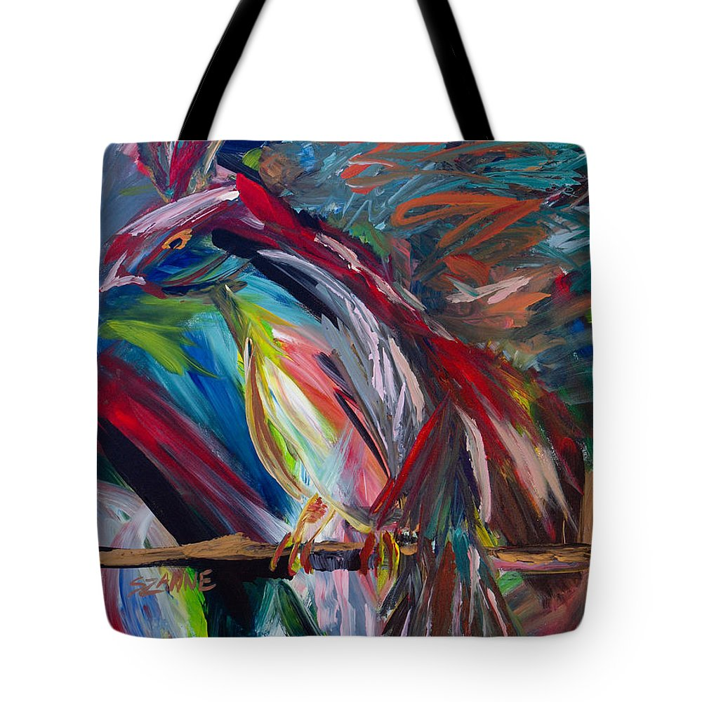 Bird Tote Bag featuring the painting Bird Of Paradise by Szanne Reynolds