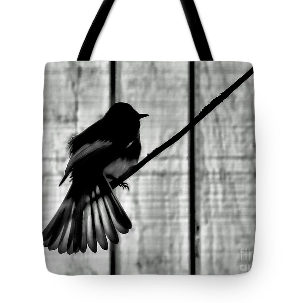 Bird Tote Bag featuring the photograph Bird On A Wire I by Jennie Breeze