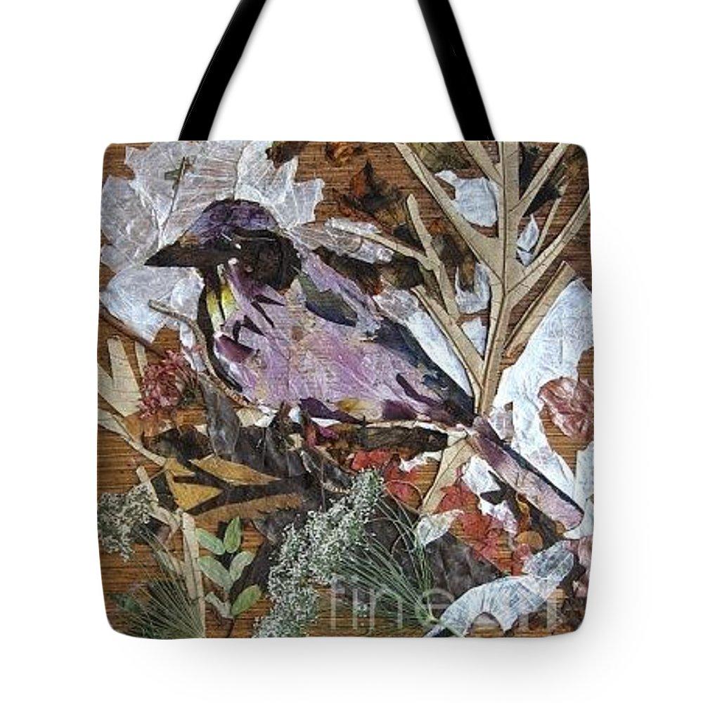 Bird Scrub Joy Tote Bag featuring the mixed media Bird Scubjoy by Basant Soni