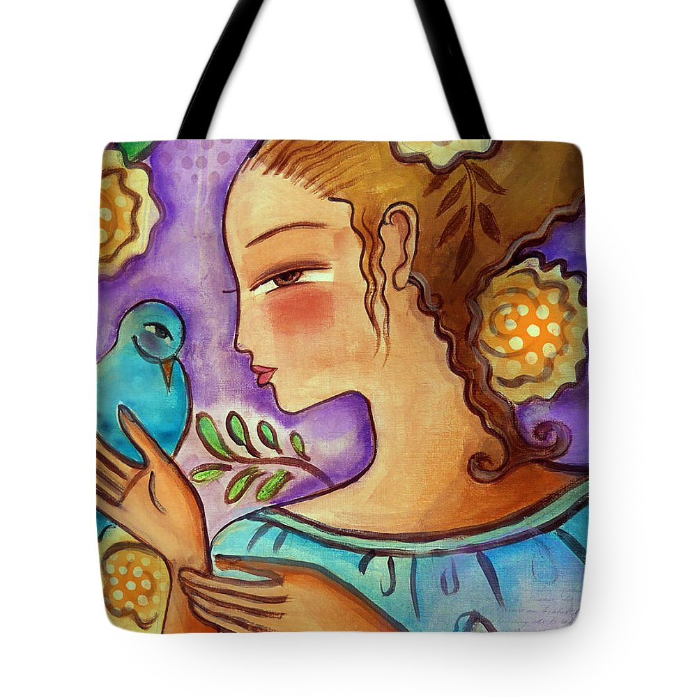 Flowers Tote Bag featuring the mixed media Birdie by Elaine Jackson