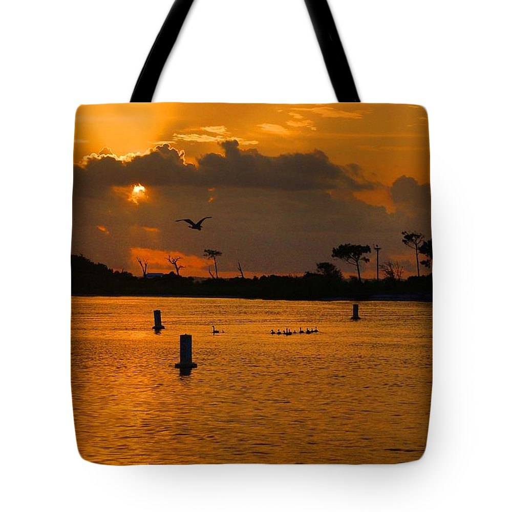 Alabama Tote Bag featuring the digital art Birds And Bouys Sunrise by Michael Thomas