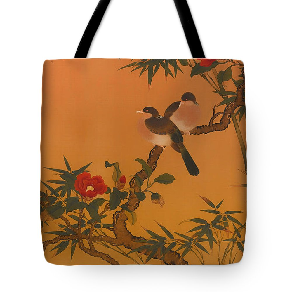 Painting Tote Bag featuring the painting Birds Bamboo And Camellias by Mountain Dreams