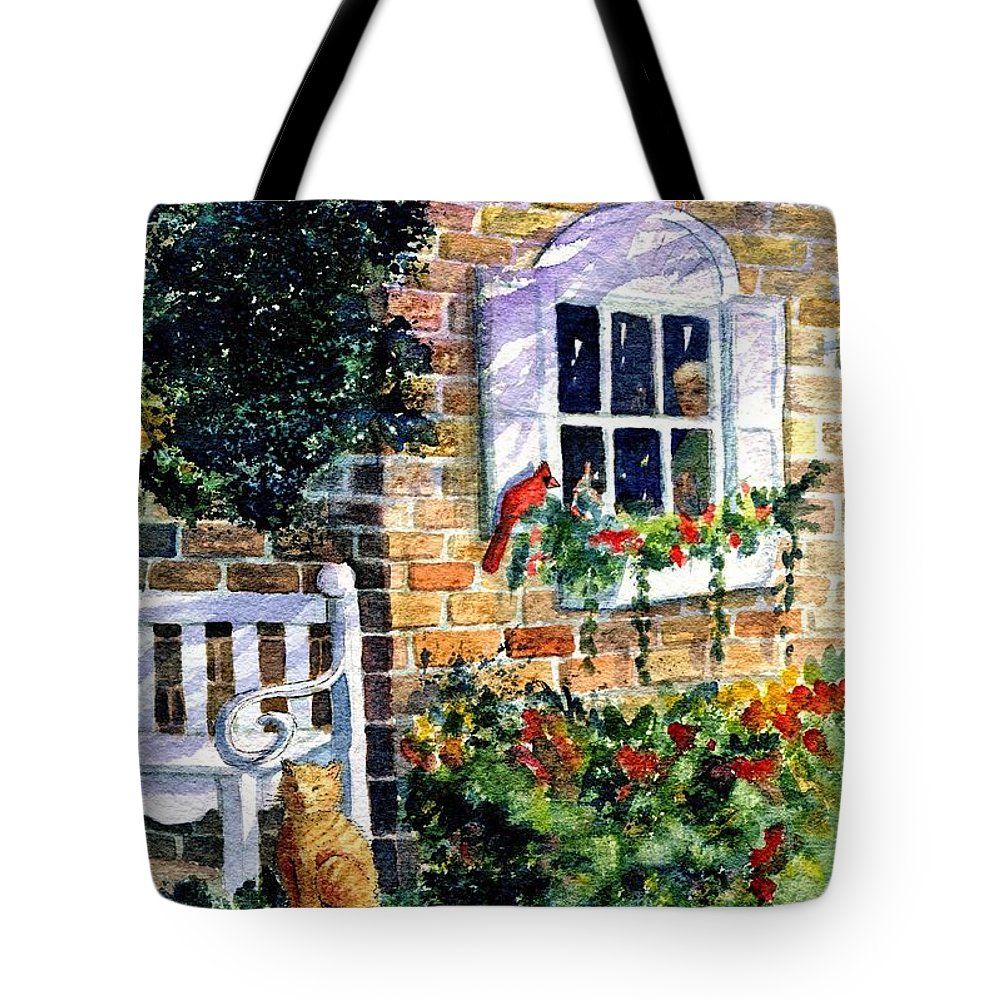 Red Birds Tote Bag featuring the painting Bird's Eye View by Marilyn Smith