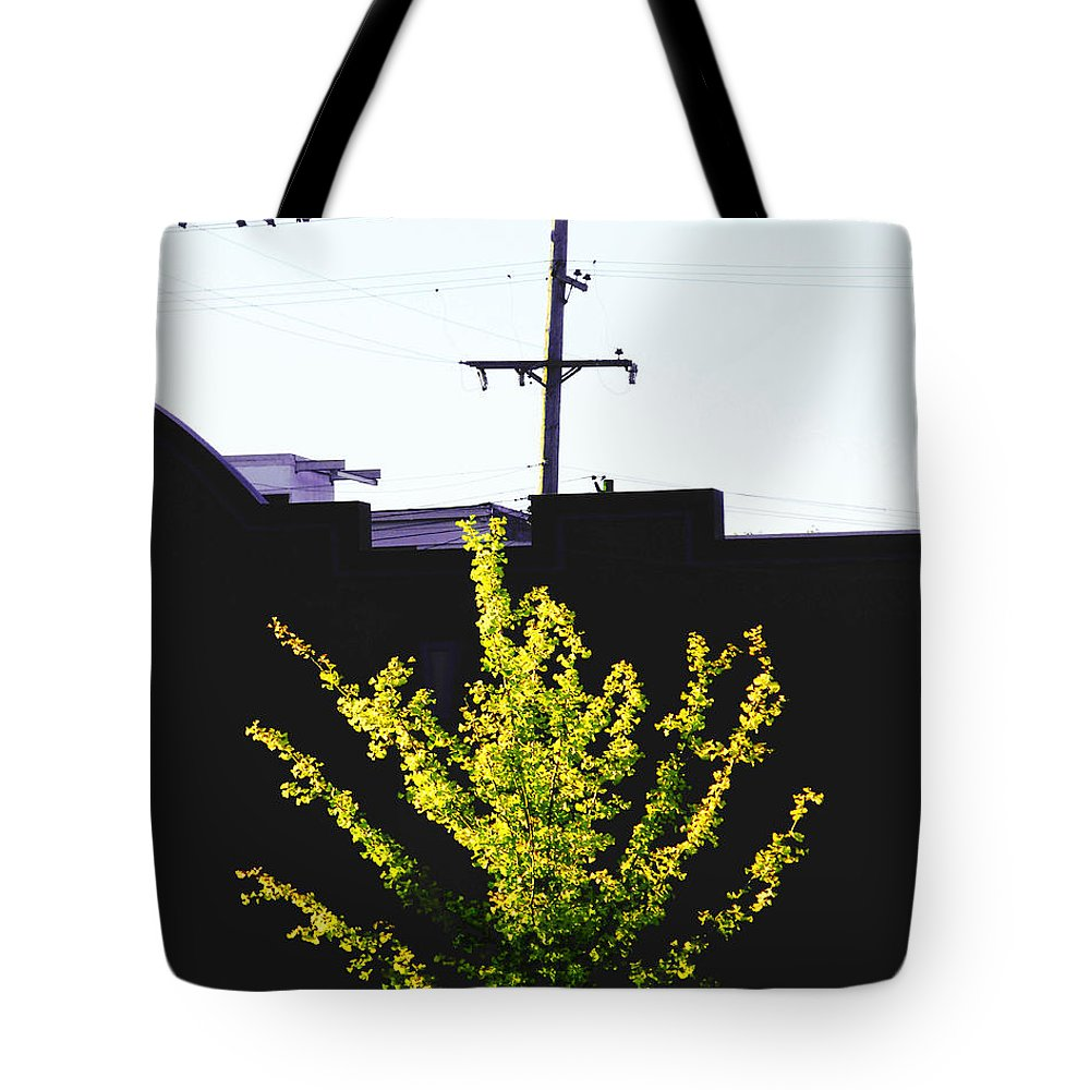 Ginko Tree Tote Bag featuring the digital art Birds On A Wire In Cooper Young by Lizi Beard-Ward