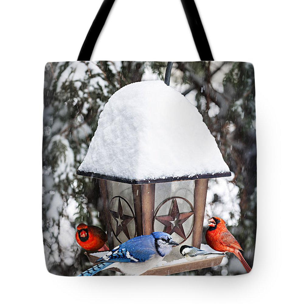 Birds Tote Bag featuring the photograph Birds On Bird Feeder In Winter by Elena Elisseeva