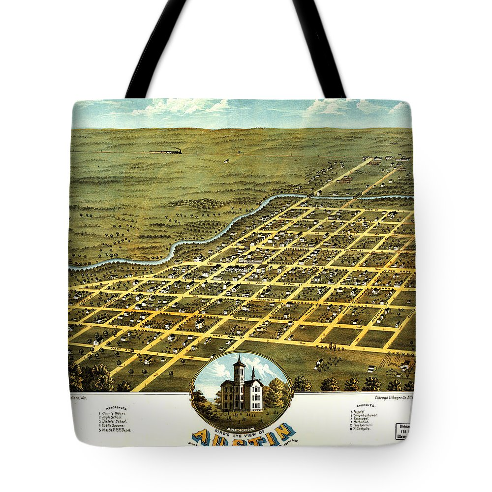 Birdseye View Of Austin Tote Bag featuring the painting Birdseye View Of Austin Minnesota 1870 by MotionAge Designs