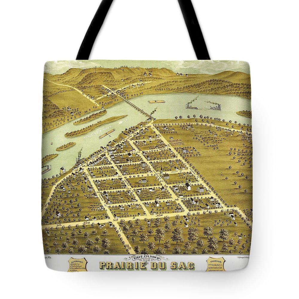 Birdseye View Of Prairie Du Sac Tote Bag featuring the painting Birdseye View Of Prairie Du Sac Wisconsin 1870 by MotionAge Designs